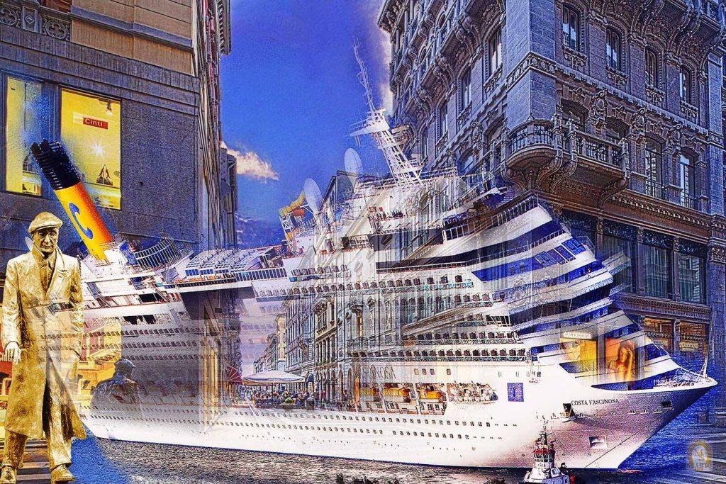 Il centro di Trieste e Costa Crociere in un'opera di Marino Sterle